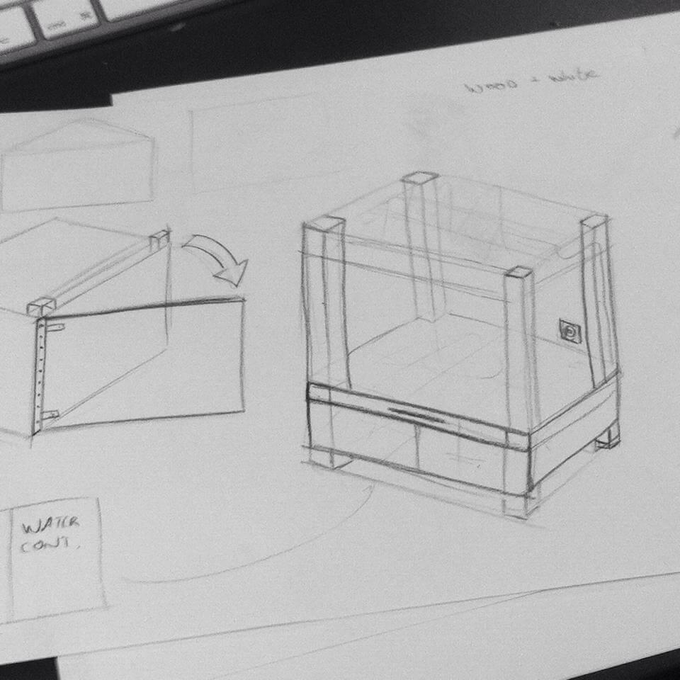 een ruwe potlood schets van een prototype