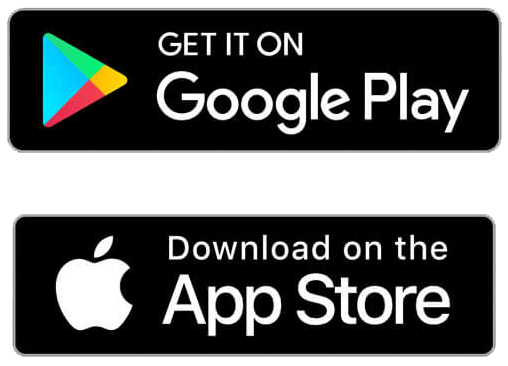 Het logo van de google play store en de app store