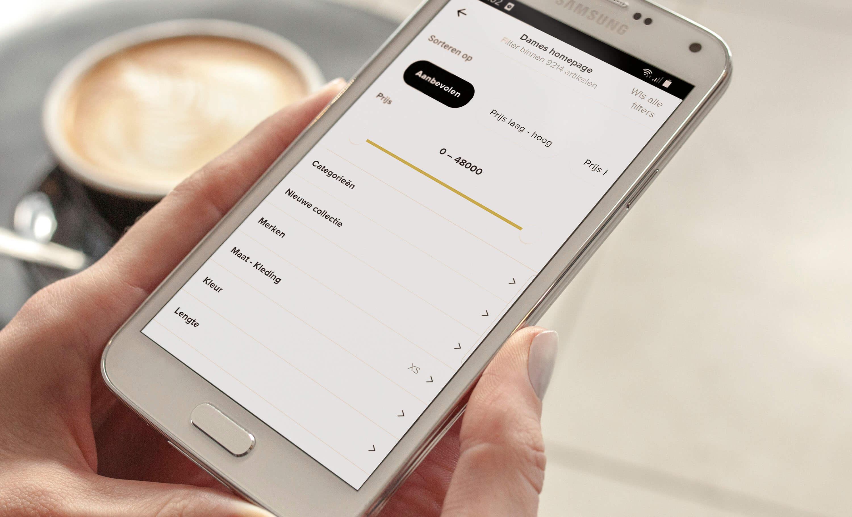 samsung android telefoon met bijenkorf app